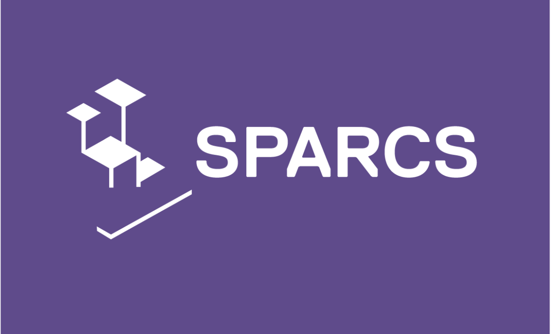 SPARCS-Logo, weiße Schrift auf lila Hintergrund