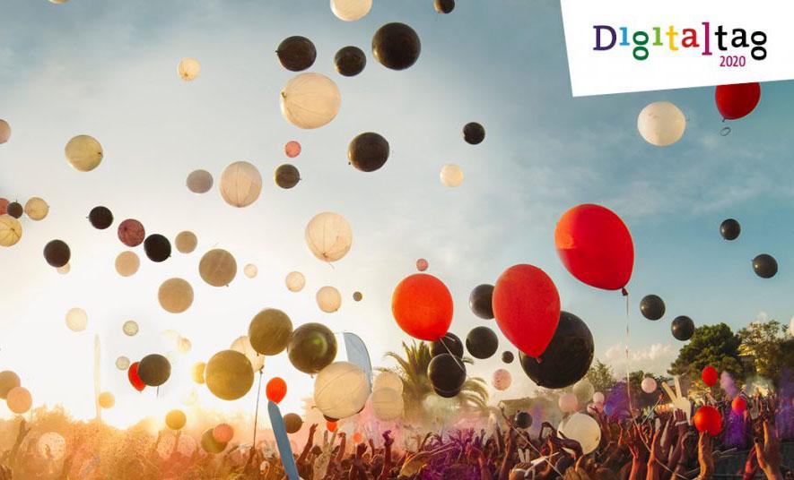 aufsteigende Luftballons, Aufschrift: Digitaltag