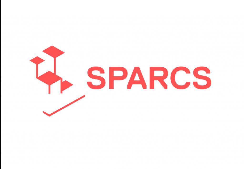 Logo SPARCS, roter Schriftzug auf weißem Hintergrund